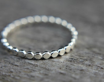 Skinny sterling silver stacking ring - stackable ring - dotted ring - beaded band - simple band - minimalist - thumb ring