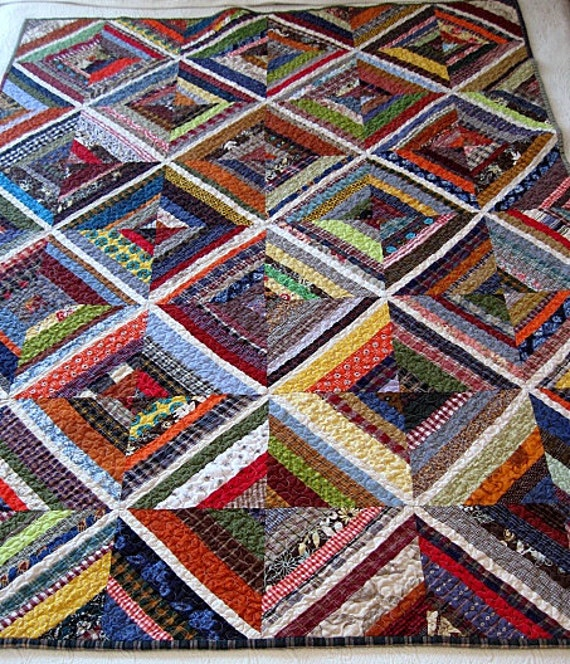 "kaleidoscope / farmhouse / homespun nap quilt.....60""x45"".......echo quilt no. 40 .... READY TO SHIP"
