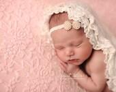 Eisele - White Cream Ivory Gold - Pearl Bow Lace Headband - Baby Infant Newborn Girls Adults - Photo Prop - Wedding Baptism