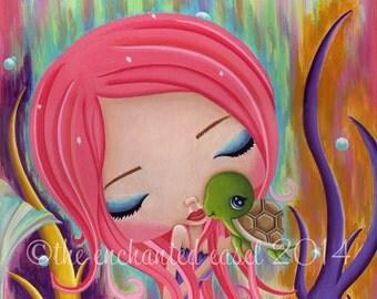 Mermaid, Pink Hair, Art Print, Girls Room, Turtle, Whimsical, Nursery Art, Girls Wall Art, Sea, Fantasy, Under The Sea