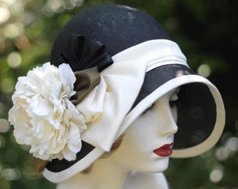 Womens 1920s Hat, Wide Brim Hat,Black Straw Hat, Miss Fischer Hat, Hat with Flowers, Garden Party Hats, Formal Wedding Hats