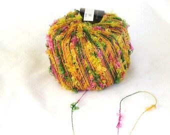 Pansy 9, Tahki Select yarn, novelty yarn, golden multi, summer, C, destash