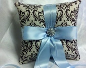 Damask Ringbearer Pillow Chocolate Brown on Ivory Madison with Light Blue Sky Ribbon Something Blue or your choice of ribbon color