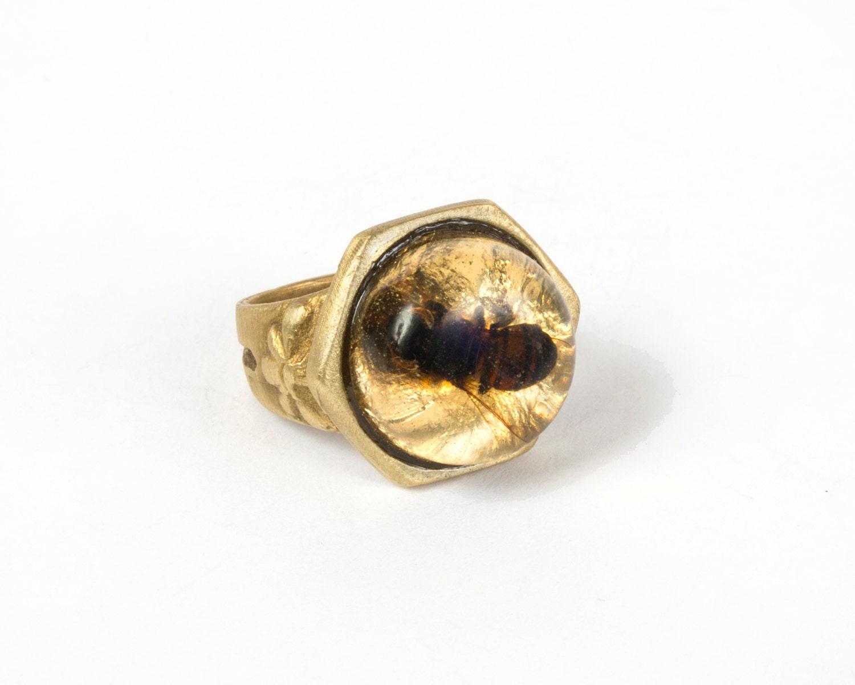 bee ring real bee jewelry gold bee honeybee ring