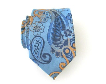 Mens Ties Necktie Blue and Orange Paisley Mens Silk Tie