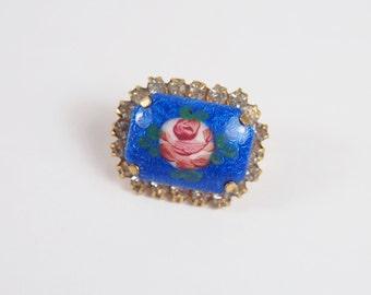 Guilloche Enamel Rose Rhinestone Brooch Vintage 60s Jewelry