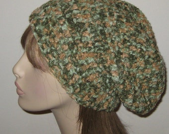Slouchy Beanie Dread Tam Winter Hat in Green and Tan