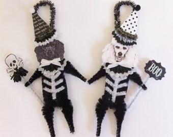 Poodle SKELETON Halloween vintage style CHENILLE ORNAMENTS set of 2