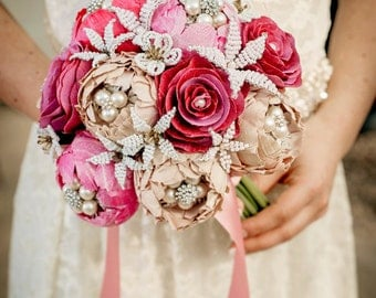 Wedding bouquet  Made To Order - A GARDEN ROMANCE  -Whimsical Delights Collection - Handmade silk flowers and sparkling rhinestone brooches