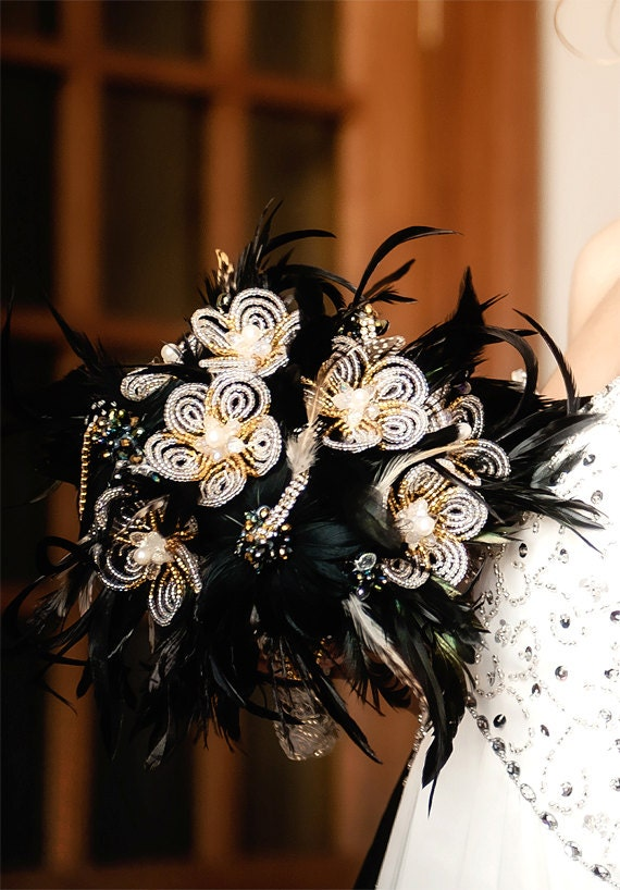 MOVING SALE - all moving sale bouquets 135 GBP plus shipping - Feather wedding bouquet  with french beaded flowers and crystals