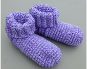Crochet Slipper Socks Booties Lilac and Lavender Size Large