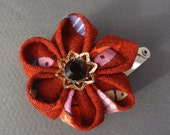 Hand Folded Flower Hair Clip (Tsumami Kanzashi) Japanese Fabric With Fish
