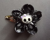 Hand Folded Kanzashi Flower Hair Clip with Skull Fabric and a Skull Center