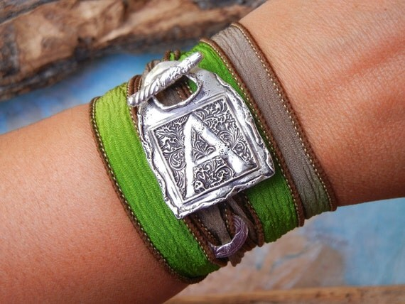 Initial Jewelry, Initial Bracelet, Silver Initial Jewelry, Initial Silk Wrap Bracelet, Silver Silk Wrap Bracelet, Handmade Initial Jewelry
