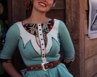 The Kitty Dress - Western Rodeo Cowgirl Pinup Dress Country