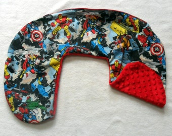 Marvel Retro Comic and Red Minky Dot Nursing Pillow Cover Fits Boppy CHOICE OF MINKY