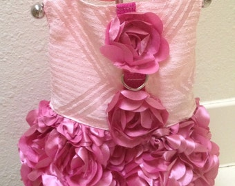 XS and Small Size Rose Satin Dog Harness Dresses