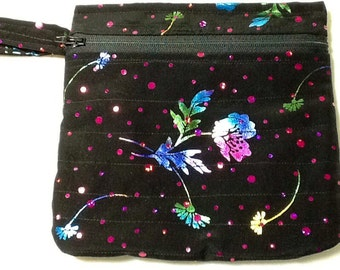 Zippered Evening Wristlet, zippered pocket inside also.  Black with Multicolored Flowers