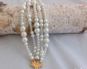 Multistrand Bridal Bold Chunky Ivory Pearl Bracelet