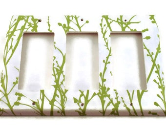Triple Rocker Switch Plate  Light Switch Cover Switchplate Wall Decor in  Green Grass  (128TR)