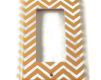 Rocker Switch Plate Light Switch Cover Wall Decor Light Switchplate  in Yellow Chevron (242R)
