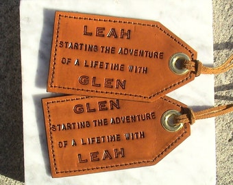His and Hers, Personalized Leather Luggage Tags - set of 2 - Starting the Adventure of a Lifetime with