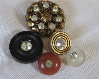 Lot of 5 VINTAGE Rhinestone in Plastic BUTTONS
