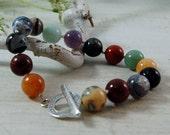 Multi stone beaded bracelet Colorful Bracelet Sterling Silver