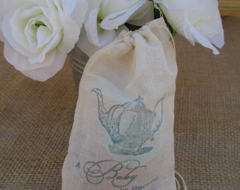 Baby Shower - A Baby is Brewing - Muslin Favor Bags, Gift Bags or Candy Bags 4x6 - Set of 10 - Item 1595