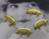 Raw Brass Funny Pig Brass Charms 150RAW x4