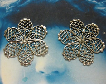 Sterling Silver Ox Plated Flower Filigree  2087SOX x2