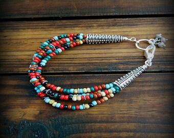 Clemintine, Western Cowgirl Southwestern Boho Beaded Multi Strand Glass Bracelet