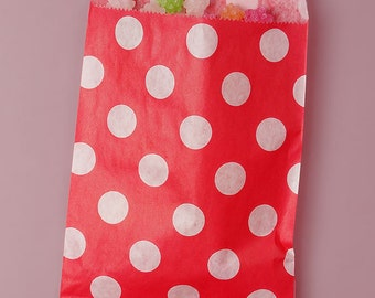 25 Pack 5 X 7 Inch Color and White Polka Dot Flat Paper Food Safe Bags