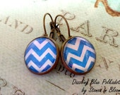 Earrings - Chevron in Dazzling blue