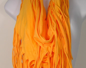 Yellow Fringe Infinity Scarves Sunflower Yellow Boho Circle Scarves Necklace Scarves Yellow Infinity Scarf Cotton Scarves Summer Scarves
