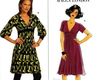 Butterick B5242 Maggy London Easy Knit Dress Size 8 10 12 14 Uncut Sewing Pattern 2008