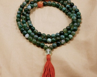 Moss Agate Mala Necklace w Prehnite & Aventurine Balance and Determination