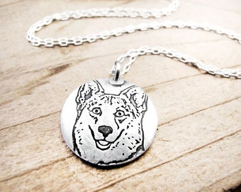 Corgi necklace, silver welsh corgi jewelry, dog lover
