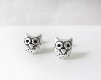 Very tiny owl post earrings - sterling silver owl jewelry, owl stud earrings