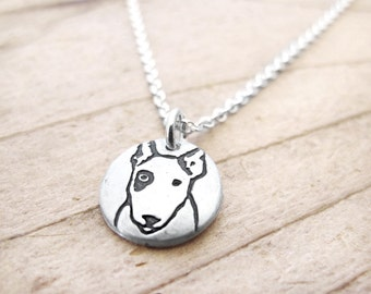Tiny Bull Terrier necklace, silver dog jewelry, pet memorial jewelry, remembrance