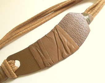 Vintage 1980's Brown Elastic Belt with Scythe-Shaped Leather Wrapped Buckle, Modern Size 10 to 12, Medium