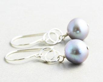 Gray Pearl Dangle Earrings, June Birthstone, Handmade