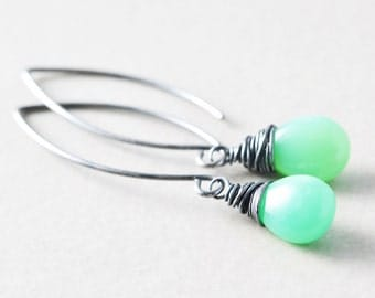 Mint Green Dangle Earrings, Chrysoprase Drop Earrings, Green Stone Earrings