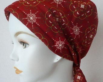 Red Classic Chemo Cancer Hairloss Scarf Turban Hat Headwrap