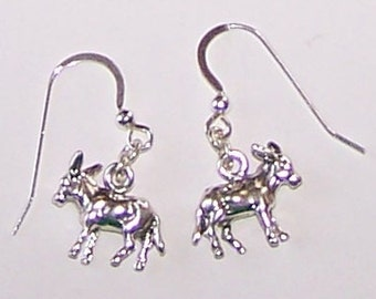 Sterling Silver 3D DONKEY  Earrings -  Equine, Whoa Team