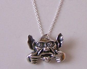 Gargoyle necklace etsy sterling gargoyle pendant and 22 inch chain amazing detail aloadofball Gallery