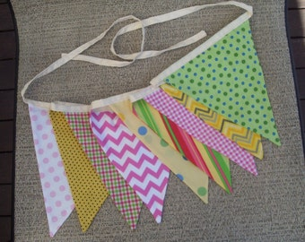 Ready to ship  pink yellow and green fabric flag banner teacher classroom nursery party chevron outdoor bunting  polka dot