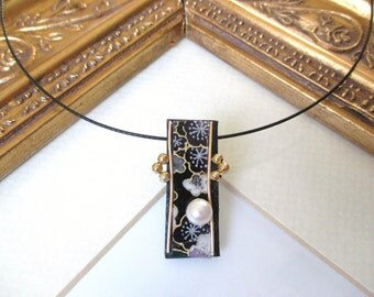 Japanese washi origami paper beaded pendant by cra1nes on etsy