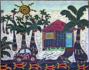 "Woodblock print ""  VW Island Style "". Print making. Hand pulled print. Hand colored print."