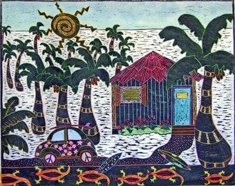 "Woodblock print ""  VW Island Style "". Print making. Hand pulled print. Hand colored print."